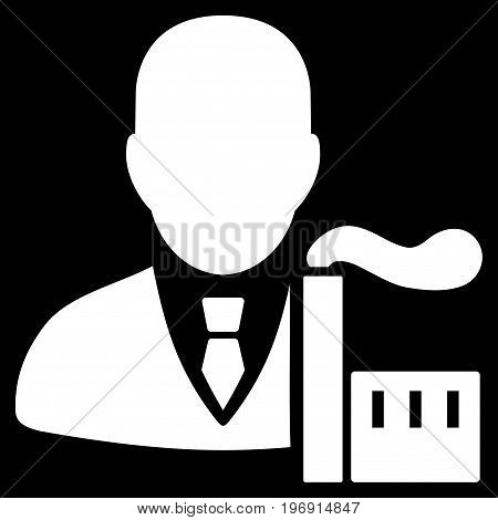Capitalist Oligarch vector pictograph. Style is flat graphic symbol, white color, black background.