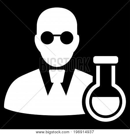 Chemist vector pictogram. Style is flat graphic symbol, white color, black background.