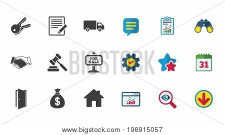 Real estate, auction icons. Handshake, for sale and money bag signs. Keys, delivery truck and door symbols. Calendar, Report and Download signs. Stars, Service and Search icons. Vector