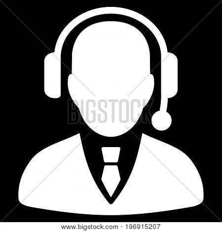 Dispatcher vector icon. Style is flat graphic symbol, white color, black background.