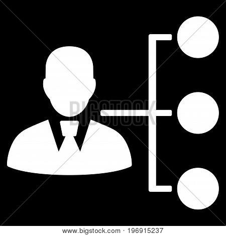 Distribution Manager vector pictograph. Style is flat graphic symbol, white color, black background.