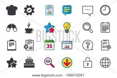 Coffee cup icon. Chef hat symbol. Birthday cake signs. Document file. Chat, Report and Calendar signs. Stars, Statistics and Download icons. Question, Clock and Globe. Vector