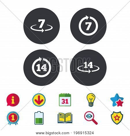 Return of goods within 7 or 14 days icons. Warranty 2 weeks exchange symbols. Calendar, Information and Download signs. Stars, Award and Book icons. Light bulb, Shield and Search. Vector