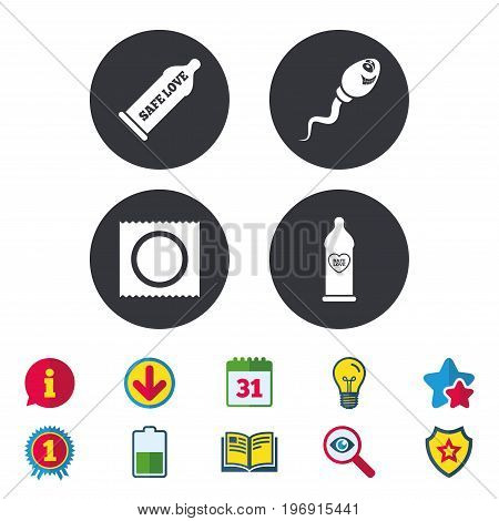 Safe sex love icons. Condom in package symbol. Sperm sign. Fertilization or insemination. Heart symbol. Calendar, Information and Download signs. Stars, Award and Book icons. Vector