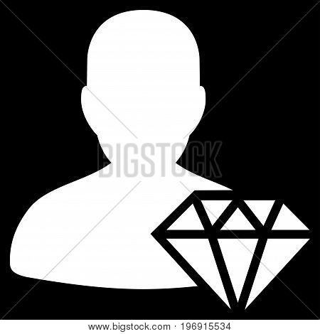Goldsmith vector icon. Style is flat graphic symbol, white color, black background.