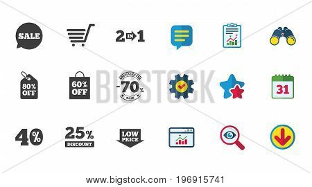 Sale discounts icon. Shopping cart, coupon and low price signs. 25, 40 and 60 percent off. Special offer symbols. Calendar, Report and Download signs. Stars, Service and Search icons. Vector