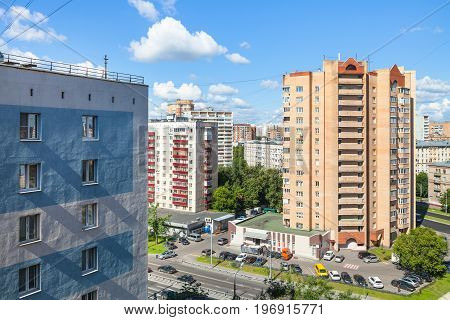 Street And Residential Houses In Moscow City