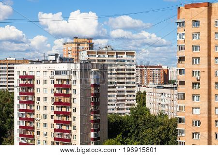 Residential District In Moscow City In Sunny Day