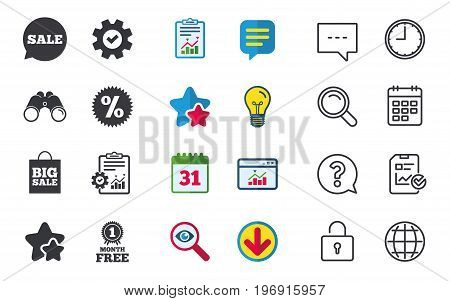 Sale speech bubble icon. Discount star symbol. Big sale shopping bag sign. First month free medal. Chat, Report and Calendar signs. Stars, Statistics and Download icons. Question, Clock and Globe