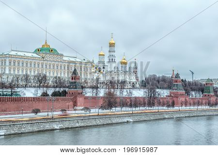 Sunrise view of Moscow Kremlin and Moscow River in Moscow Russia. Moscow architecture and landmark Moscow cityscape