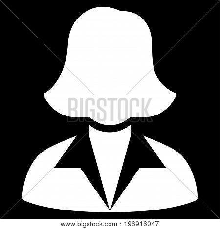 Office Lady vector pictograph. Style is flat graphic symbol, white color, black background.