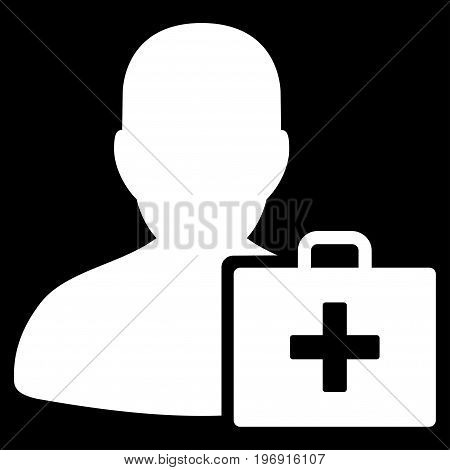 Paramedic vector pictograph. Style is flat graphic symbol, white color, black background.