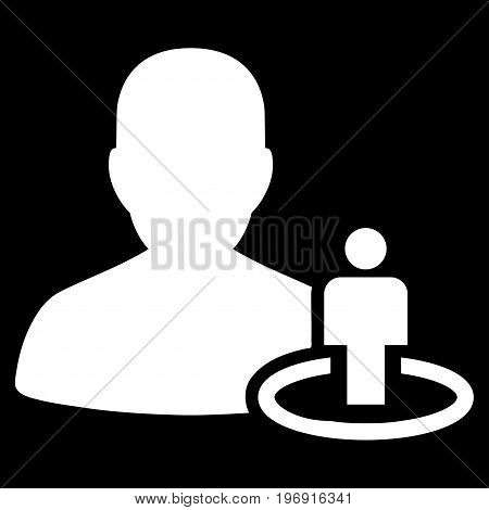Portal Moderator vector pictogram. Style is flat graphic symbol, white color, black background.
