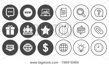 Online shopping, e-commerce and business icons. Gift box, chat message and star signs. Chart, dollar and clients symbols. Document, Globe and Clock line signs. Lamp, Magnifier and Paper clip icons