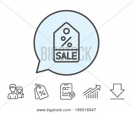 Shopping tag line icon. Sale Special offer sign. Discount coupon symbol. Report, Sale Coupons and Chart line signs. Download, Group icons. Editable stroke. Vector