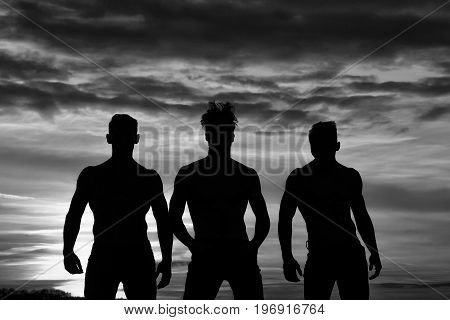 men or bodybuilders silhouettes athlete people with sexy muscular torso outdoors in sunset sky black and white