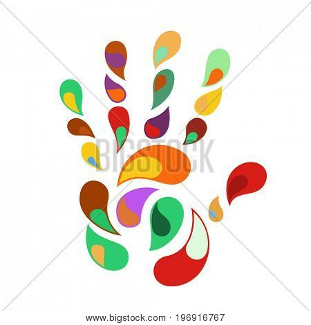 rainbow handprint. rainbow colors of a hand and fingers