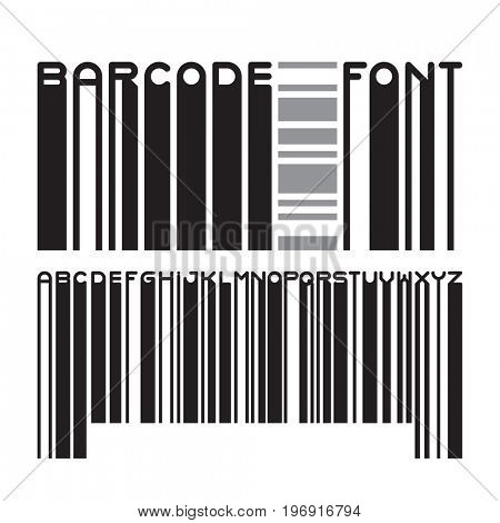 Stylish barcode typeface font. Stripped letters of bar code digital scanning.