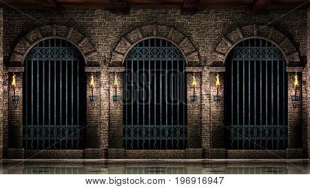 Medieval castle arches with iron castle railings.3d illustration.