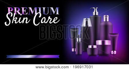 Premium cosmetic bottle discount. Skin care professional concept. Regeneration and revitalising intensive cream set. Realistic template vector illustration