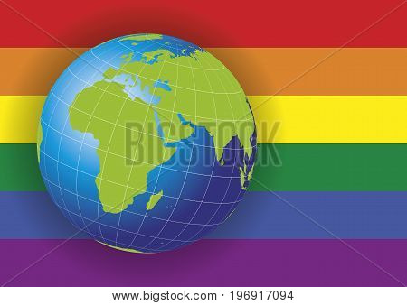 Europe And Africa Map Over A Gay Flag Background