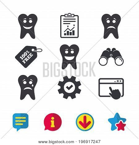 Tooth smile face icons. Happy, sad, cry signs. Happy smiley chat symbol. Sadness depression and crying signs. Browser window, Report and Service signs. Binoculars, Information and Download icons