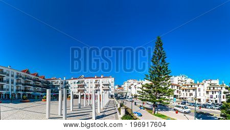 Editorial: 7Th June 2017, Ericeira, Portugal. Traditional Resort City View/ White And Blue Summer Co