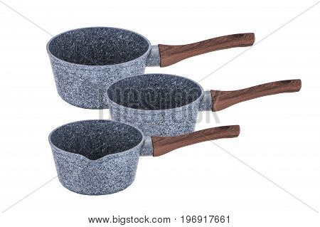 Pan buckets with brown handles non-stick coating art grafit  on white background isolation