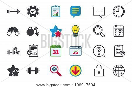 Dumbbells sign icons. Fitness sport symbols. Gym workout equipment. Chat, Report and Calendar signs. Stars, Statistics and Download icons. Question, Clock and Globe. Vector