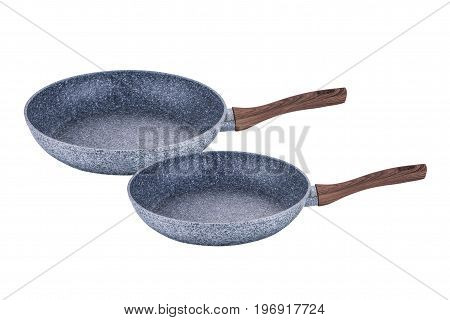 Pans art with brown handles grafit non-stick coating on white background isolation