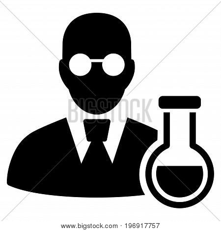 Chemist vector pictogram. Style is flat graphic symbol, black color, white background.