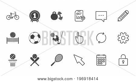 Sport games, fitness icons. Football, basketball and tennis signs. Golf, bike and winner medal symbols. Chat, Report and Calendar line signs. Service, Pencil and Locker icons. Vector