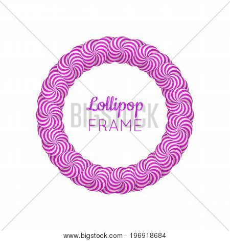 Lollipop round violet frame. Photo album page to preserve sweet memories. Realistic mockup vector illustration on white background