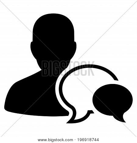 Forum Moderator vector icon. Style is flat graphic symbol, black color, white background.