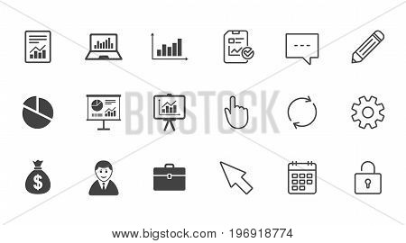Statistics, accounting icons. Charts, presentation and pie chart signs. Analysis, report and business case symbols. Chat, Report and Calendar line signs. Service, Pencil and Locker icons. Vector
