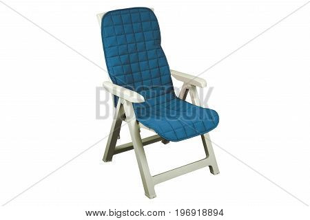 Folding chair in a garden with a blue cover on a white background isolation