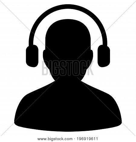 Listen Operator vector pictograph. Style is flat graphic symbol, black color, white background.