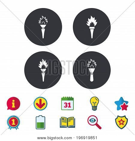 Torch flame icons. Fire flaming symbols. Hand tool which provides light or heat. Calendar, Information and Download signs. Stars, Award and Book icons. Light bulb, Shield and Search. Vector
