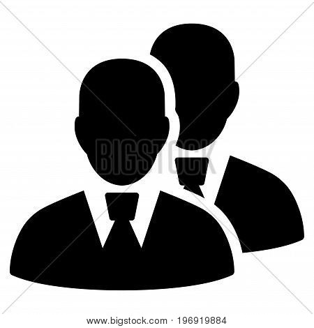 Managers vector pictograph. Style is flat graphic symbol, black color, white background.
