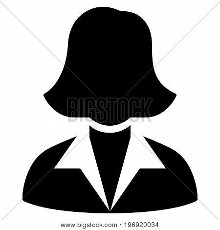 Office Lady vector pictograph. Style is flat graphic symbol, black color, white background.
