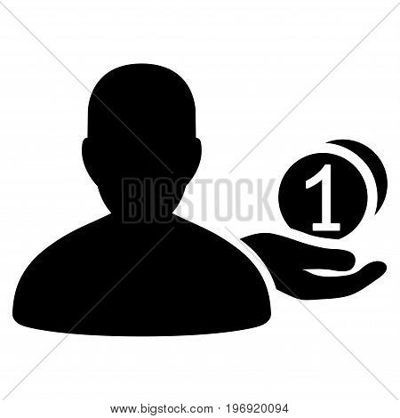 Panhandler vector pictogram. Style is flat graphic symbol, black color, white background.