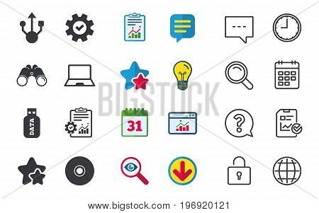 Usb flash drive icons. Notebook or Laptop pc symbols. CD or DVD sign. Compact disc. Chat, Report and Calendar signs. Stars, Statistics and Download icons. Question, Clock and Globe. Vector