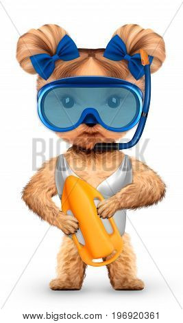 Funny animal in diving mask holding guard can. Concept summer holidays, travel vacation concept. Realistic 3D illustration.