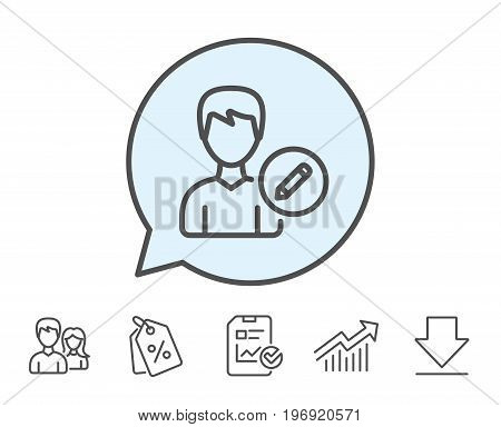 Edit User line icon. Profile Avatar with pencil sign. Male Person silhouette symbol. Report, Sale Coupons and Chart line signs. Download, Group icons. Editable stroke. Vector