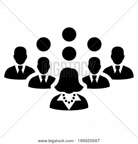 Staff Team vector pictograph. Style is flat graphic symbol, black color, white background.