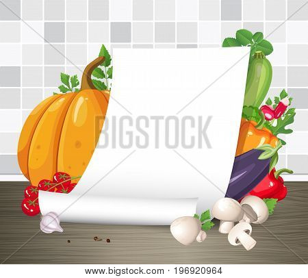 Vector mock up. Paper poster or parchment scroll with vegetables. Restaurant menu or recipe template. Empty curled blank paper sheet on kitchen table. Creative cooking design concept. Note page