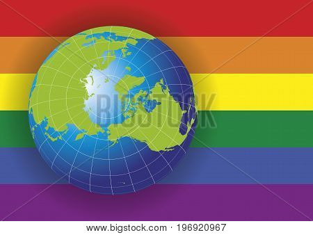 North Pole Map Over A Gay Flag Background