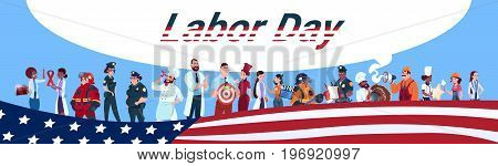 Labor Day People Group Different Occupation Set, Employees Mix Race Workers Banner Flat Vector Illustration
