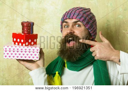 Man With Long Beard In Colorful Scarf.
