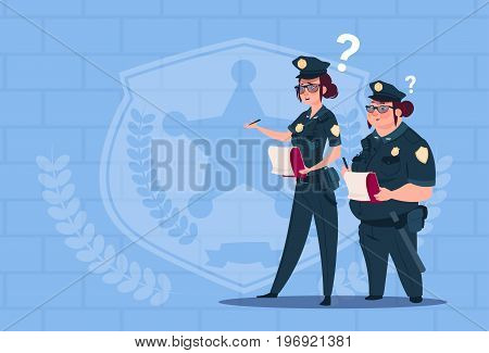 Two Police Women Holding Boxes With Office Staff Fired Wearing Uniform Female Guards On Blue Bricks Background Flat Vector Illustration